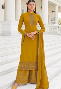 Mustard Georgette Embroidered Heavy Palazzo Suit - 8457
