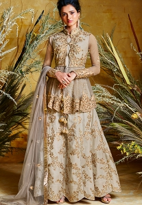 Grey Silk & Net Embroidered Koti Style Anarkali Suit - 86