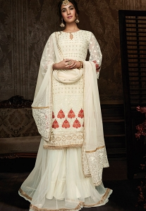 Sonal Chauhan White Georgette Embroidered Pakistani Suit - 8604