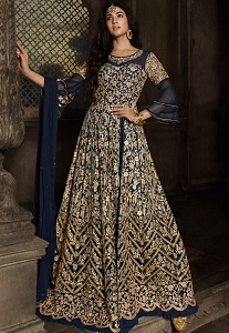 Navy Blue Net Embroidered Floor Length Anarkali Suit - 8806