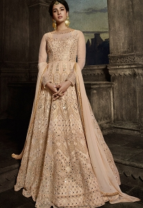 Cream Net Embroidered Floor Length Anarkali Suit - 8807