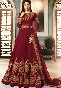 Maroon Georgette Embroidered Floor Length Anarkali Suit - 9054