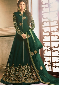 Dark Green Georgette Embroidered Front Slit Anarkali Suit - 9058