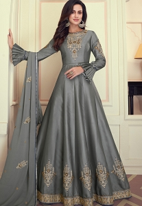 Grey Art Silk Embroidered Long Anarkali Suit - 9071