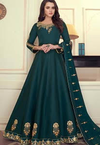 Turquoise Art Silk Embroidered Long Anarkali Suit - 9075