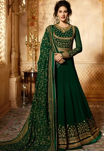 Green Georgette Floor Length Designer Anarkali Suit - 9083