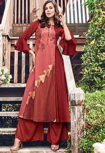 Brown Shade Jacquard Palazzo Style Suit - 9101