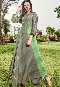 Grey Jacquard Palazzo Style Suit - 9109