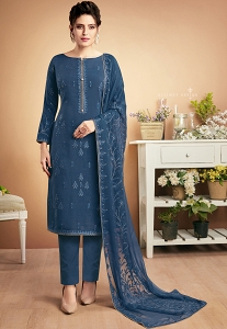 Blue Muslin Straight Palazzo Style Suit - 920