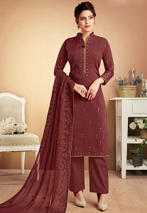 Brown Shade Muslin Straight Palazzo Style Suit - 924