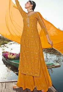Orange  Georgette Sequins Embroidered Palazzo Suit - 9904