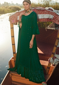 Dark Green Georgette Sequins Embroidered Palazzo Suit - 9905