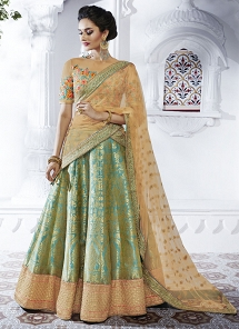 Hypnotizing Net Brocade A line Wedding Lehenga Choli