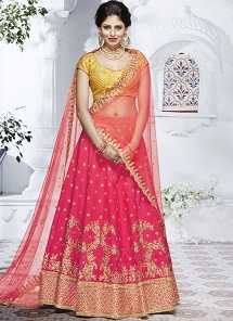 Hot Pink Dhupion Silk Embroidered A line Lehenga Choli