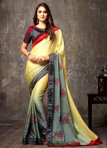 Yellow & Grey Silk Patch Embroidered Saree - 103