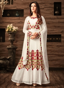 Sonal Chauhan White Georgette Ankle Length Anarkali Suit