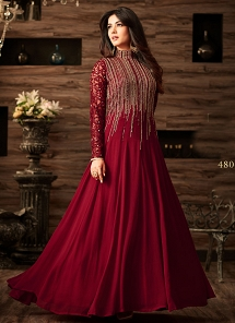 Sonal Chauhan Maroon Net Floor Length Anarkali Suit