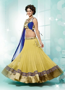 Fabulous Light Yellow Net Party wear Lehenga