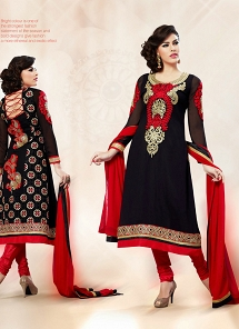 Delightsome Black Georgette A Style Embroidered Suit