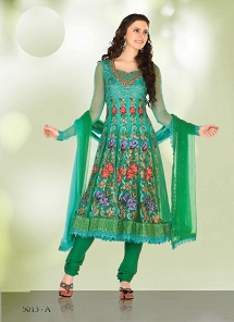 Splendid Green Net Embroidered Anarkali Suit