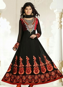 Black Georgette Embroidered Long Anarkali Suit - 19174