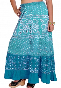 Hippie skirt. Gypsy Bohemian clothing Long Printed Skirts. Indian Bandhani Tie-dye Skirt with Large Sequins-ks16