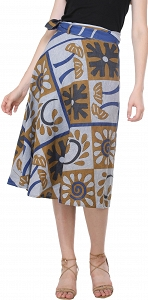 Printed Casual Stone washed Wrap Around Skirt-SEK03-1