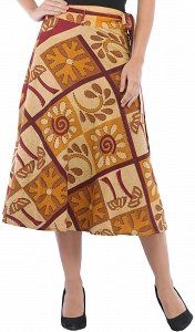 Printed Casual Stone washed Wrap Around Skirt-SEK03