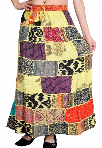 Printed Dori Patchwork Skirt / Long Skirt / Full Length Skirt / Boho Skirt / Cotton Skirt / Long Skirt For Women / Maxi Skirt-STG87-18