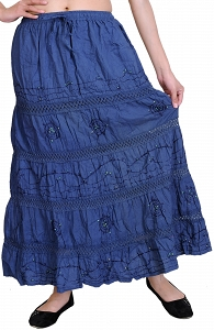 Long Gypsy Organic Cotton Elastic Skirt with sequins and Crochet border-STJ71