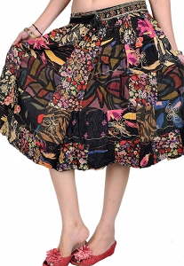 Indian Handmade Midi Skirt Black with Printed Flowers and Patchwork-STK80