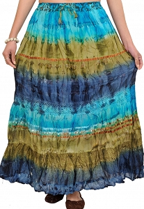 Handmade tie-dyed / Batik Blue cotton maxi skirt-STQ73