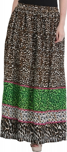 1990s leopard print long skirt-STZ32