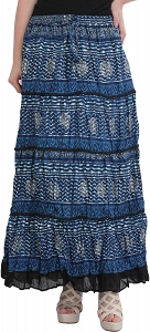 Elastic Printed Stripes Ankle Length Full Maxi Cotton Summer Skirt-STZ50